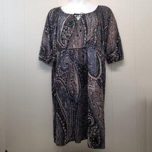 Sonoma 2X Dress Peasant Blue Brown Floral Keyhole